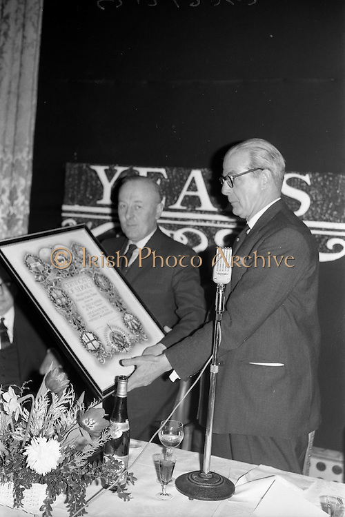 07/02/1963<br /> 02/07/1963<br /> 07 February 1963<br /> Brittain Dublin Ltd. Golden Jubilee reception and Dinner at the Hibernian Hotel, Dublin. Picture shows Mr. G.C.V. Brittain, Vice Chairman, (left) of Brittain Dublin Ltd. and Mr. H.C.R. Mullens, Director, British Motor Corporation Services Ltd. pictured during the presentations.