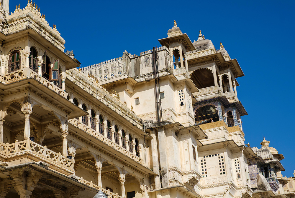 UDAIPUR, INDIA - CIRCA NOVEMBER 2016:  Architectural detail of the City Palace in Udaipur