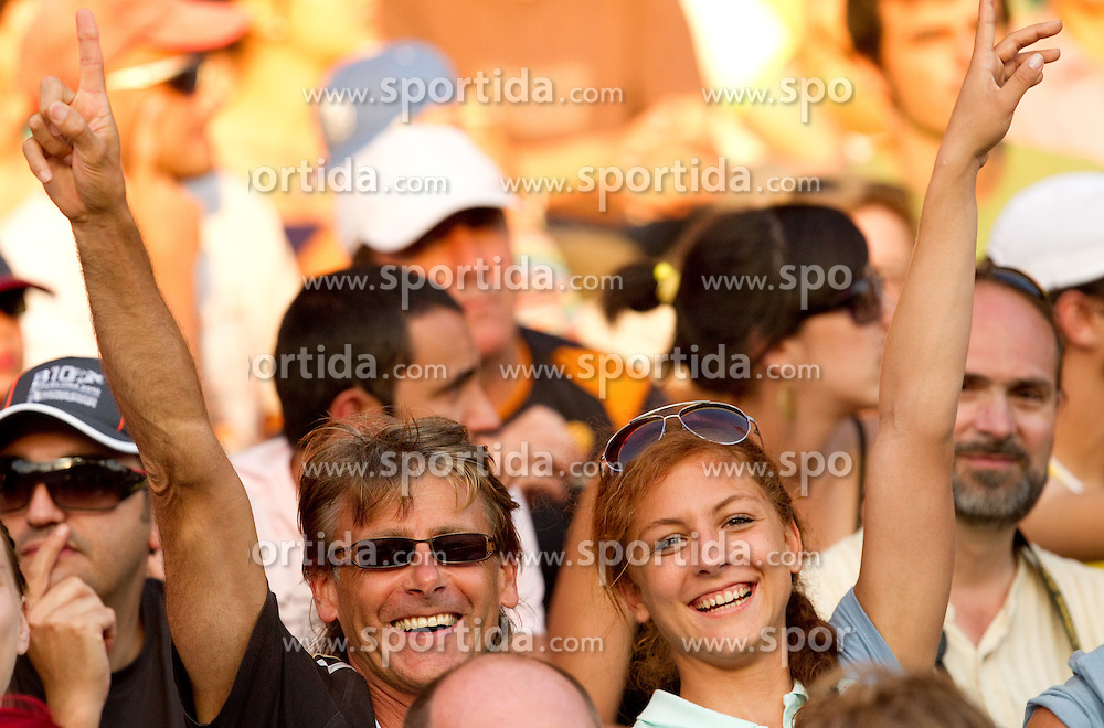Slovenia's coach Albert Soba and  Liona Rebernik watching Snezana Rodic of Slovenia when she competes during the women's triple jump final at the 2010 European Athletics Championships at the Olympic Stadium in Barcelona on July 31, 2010.(Photo by Vid Ponikvar / Sportida)