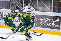 2019-10-09 | Umeå, Sweden:Björklöven 12 Brian Cooper battles for the puck with BIK 73 Oliver Eklind in   HockeyAllsvenskan during the game  between Björklöven and Karlskoga at A3 Arena ( Photo by: Michael Lundström | Swe Press Photo )<br /> <br /> Keywords: Umeå, Hockey, HockeyAllsvenskan, A3 Arena, Björklöven, Karlskoga, bk191009