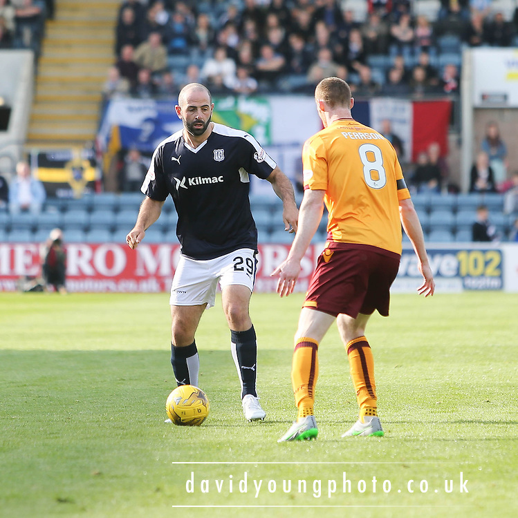 Dundee&rsquo;s Gary Harkins and Motherwell&rsquo;s Stephen Pearson - Dundee v Motherwell - Ladbrokes Premiership at Dens Park<br /> <br /> <br />  - &copy; David Young - www.davidyoungphoto.co.uk - email: davidyoungphoto@gmail.com