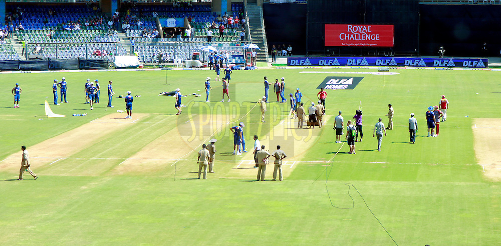 Ground Staff during match 28 of the the Indian Premier League ( IPL) 2012  between The Mumbai Indians and the Kings X1 Punjab held at the Wankhede Stadium in Mumbai on the 22nd April 2012..Photo by Sandeep Shetty/IPL/SPORTZPICS.