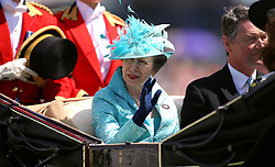Anne, Princess Royal (centre) arrives at the racecourse during day three of Royal Ascot at Ascot Racecourse.