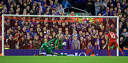 LIVERPOOL, ENGLAND - Wednesday, September 23, 2015: Liverpool's Philippe Coutinho Correia misses his side's fourth penalty of the shoot-out to leave the score 2-1 against Carlisle United during the Football League Cup 3rd Round match at Anfield. (Pic by David Rawcliffe/Propaganda)