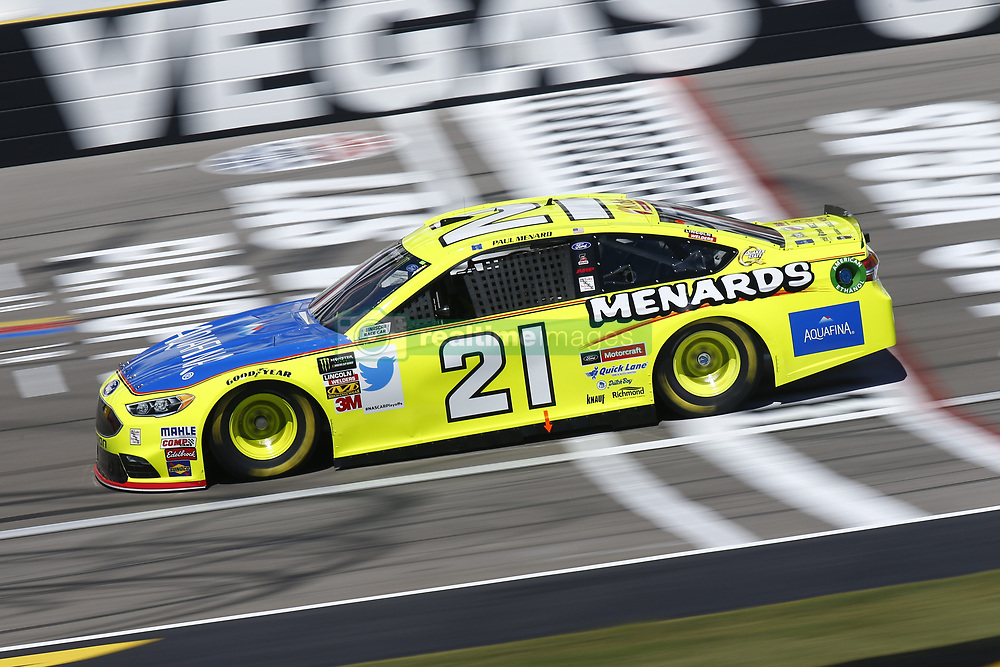 September 14, 2018 - Las Vegas, Nevada, United States of America - Paul Menard (21) brings his race car down the front stretch during practice for the South Point 400 at Las Vegas Motor Speedway in Las Vegas, Nevada. (Credit Image: © Chris Owens Asp Inc/ASP via ZUMA Wire)