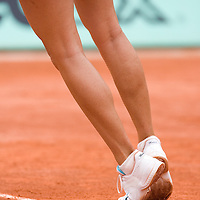 07 June 2007: Details of Russian player Maria Sharapova as she serves to Serbian player Ana Ivanovic during the French Tennis Open semi final won 6-2, 6-1 by Ana Ivanovic over Maria Sharapova on day 12 at Roland Garros, in Paris, France.