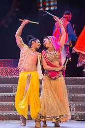 """© Licensed to London News Pictures. 29/01/2014. London, England. Picture: Carol Furtado and Sushant Pujari dancing. The show """"The Merchants of Bollywood"""" returns to the Peacock Theatre/Sadler's Wells from 28 January to 15 February 2014. Photo credit: Bettina Strenske/LNP"""