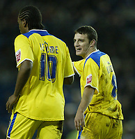 Photo: Aidan Ellis.<br /> Sheffield Wednesday v Cardiff City. Coca Cola Championship. 09/11/2005.<br /> Cardiff's Jason Koumas celebrates the third goal with scorer Cameron Jerome