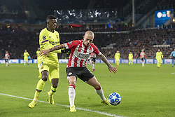 November 28, 2018 - Eindhoven, Netherlands - Ousmane Dembele of Barcelona and Angelino of PSV fight for the ball during the UEFA Champions League Group B match between PSV Eindhoven and FC Barcelona at Philips Stadium in Eindhoven, Netherlands on November 28, 2018  (Credit Image: © Andrew Surma/NurPhoto via ZUMA Press)