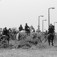 Mounted police charge miners pickets at Orgreave , Miners Strike. 30 May 1984<br />