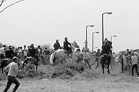 Mounted police charge miners pickets at Orgreave, 1984 Miners Strike. 30 May 1984...&copy; Martin Jenkinson <br />