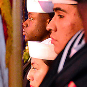 191111-N-YZ252-0028 NEW YORK (Nov. 11, 2019) An Honor Guard from USS Carter Hall (LSD 50) dips the Navy and Marine Corps flags as the National Anthem is being sung at New York Athletic Club's All Sports Dinner on Nov. 11, 2019. Sailors and Marines assigned to Carter Hall hosted ship tours for the public, paid tribute to veterans of all generations, attended sporting events and marched in New York City's Veterans Day Parade. This year, the Veterans Day celebration commemorated the centennial of the holiday, established in 1919 as Armistice Day. It commemorated the anniversary of the end of World War I and was officially renamed to Veterans Day in 1954. (U.S. Navy photo by Chief Mass Communication Specialist Roger Duncan)
