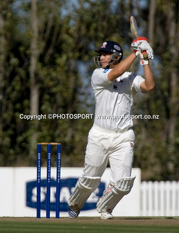 Auckland Ace's Anaru Kitchen batting early in his innings. State Championship Final, Auckland v Central, Day 2, Bert Sutcliffe Oval, Lincoln, Tuesday 07 April 2009. Photo: Joseph Johnson/PHOTOSPORT