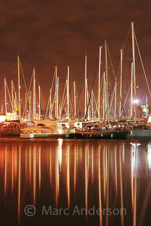 Boats in a harbour at night, Alicante, Spain