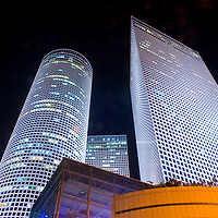 The Azrieli towers at night , Tel aviv Israel