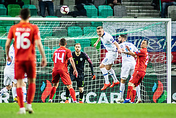 Jasmin Kurtič of Slovenia and Miha Mevlja of Slovenia and Jan Oblak of Slovenia vs Boban Nikolov of Macedonia and Darko Velkoski of Macedonia during football match between National teams of Slovenia and North Macedonia in Group G of UEFA Euro 2020 qualifications, on March 24, 2019 in SRC Stozice, Ljubljana, Slovenia.  Photo by Matic Ritonja / Sportida