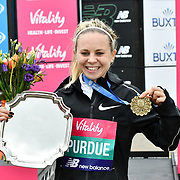 Charlotte Purdue winner of the elite race at The Vitality Big Half 2019 on 10 March 2019, London, UK.
