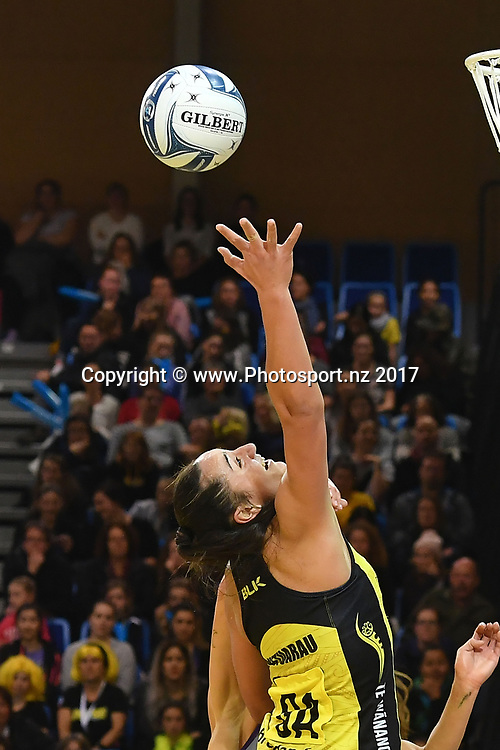 Pulse's Tiana Metuarau reaches for the ball during the ANZ Premiership netball match between the Pulse and Northern Stars at the Te Rauparaha Arena on Wednesday the 14th of June 2017. Copyright Photo by Marty Melville / www.Photosport.nz