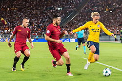 (L-R) Radja Nainggolan of AS Roma, Kostas Manolas of AS Roma, Antoine Griezmann of Club Atletico de Madrid during the UEFA Champions League group C match match between AS Roma and Atletico Madrid on September 12, 2017 at the Stadio Olimpico in Rome, Italy.