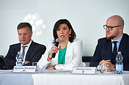 """Warsaw, Poland - 2017 April 19: (C) Agnieszka Wilczynska BGZ BNP Paribas speaks while press conference during official visit of International Tennis Federation (ITF) at """"Orzel"""" Tennis Club  on April 19, 2017 in Warsaw, Poland.<br /> <br /> Mandatory credit:<br /> Photo by © Adam Nurkiewicz / Mediasport<br /> <br /> Adam Nurkiewicz declares that he has no rights to the image of people at the photographs of his authorship.<br /> <br /> Picture also available in RAW (NEF) or TIFF format on special request.<br /> <br /> Any editorial, commercial or promotional use requires written permission from the author of image."""