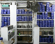 Machine parts at Ontario Plastics are stored in plastic containers manufactured by the company itself. The family-run company makes plastic injection-molded parts for companies all over the world.