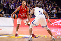 Real Madrid's Dontaye Draper and EA7 Emporio Armani Milan's Ricky Hickman during Turkish Airlines Euroleage match between Real Madrid and EA7 Emporio Armani Milan at Wizink Center in Madrid, Spain. January 27, 2017. (ALTERPHOTOS/BorjaB.Hojas)
