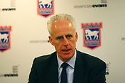 Ipswich Town manager Mick McCarthy gives a post match interview during the EFL Sky Bet Championship match between Ipswich Town and Burton Albion at Portman Road, Ipswich, England on 10 February 2018. Picture by John Potts.
