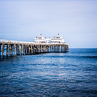 Picture of Malibu Pier in Southern California. Malibu Pier is a historic landmark along the Pacific Ocean in Los Angeles County.