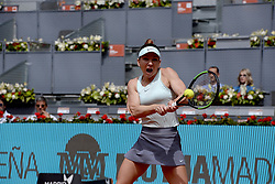 May 7, 2019 - Madrid, Spain - Simona Halep (BEL) in her match against Johanna Konta (GBR) during day four of the Mutua Madrid Open at La Caja Magica in Madrid on 7th May, 2019. (Credit Image: © Juan Carlos Lucas/NurPhoto via ZUMA Press)