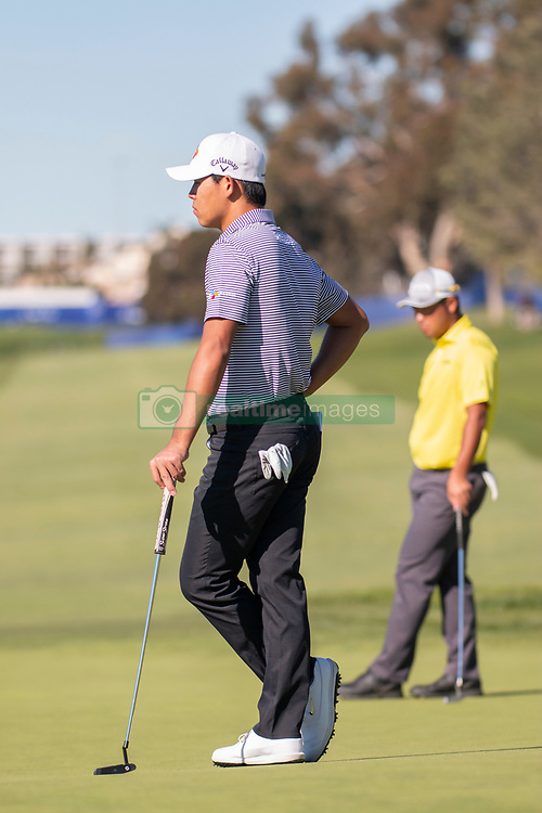 January 25, 2019 - San Diego, CA, U.S. - SAN DIEGO, CA - JANUARY 25:  Si Woo Kim during the second round of the Farmers Insurance Open at Torrey Pines Golf Club on January 25, 2019 in San Diego, California.(Photo by Alan Smith/Icon Sportswire) (Credit Image: © Alan Smith/Icon SMI via ZUMA Press)