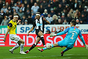 Joelinton (#9) of Newcastle United shoots and scores but is ruled offside during the The FA Cup match between Newcastle United and Oxford United at St. James's Park, Newcastle, England on 25 January 2020.