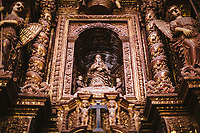 Intricate carvings inside the Se Cathedral in Old Goa, India.