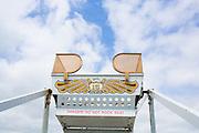 Ferris Wheel at Oaks Park in Portland, Oregon says Danger, Do not rock seat!