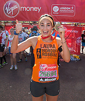Classical singer Laura Wright  at the end of the Virgin Money London Marathon 2014 on Sunday 13 April 2014<br /> Photo: Roger Allan/Virgin Money London Marathon<br /> media@london-marathon.co.uk