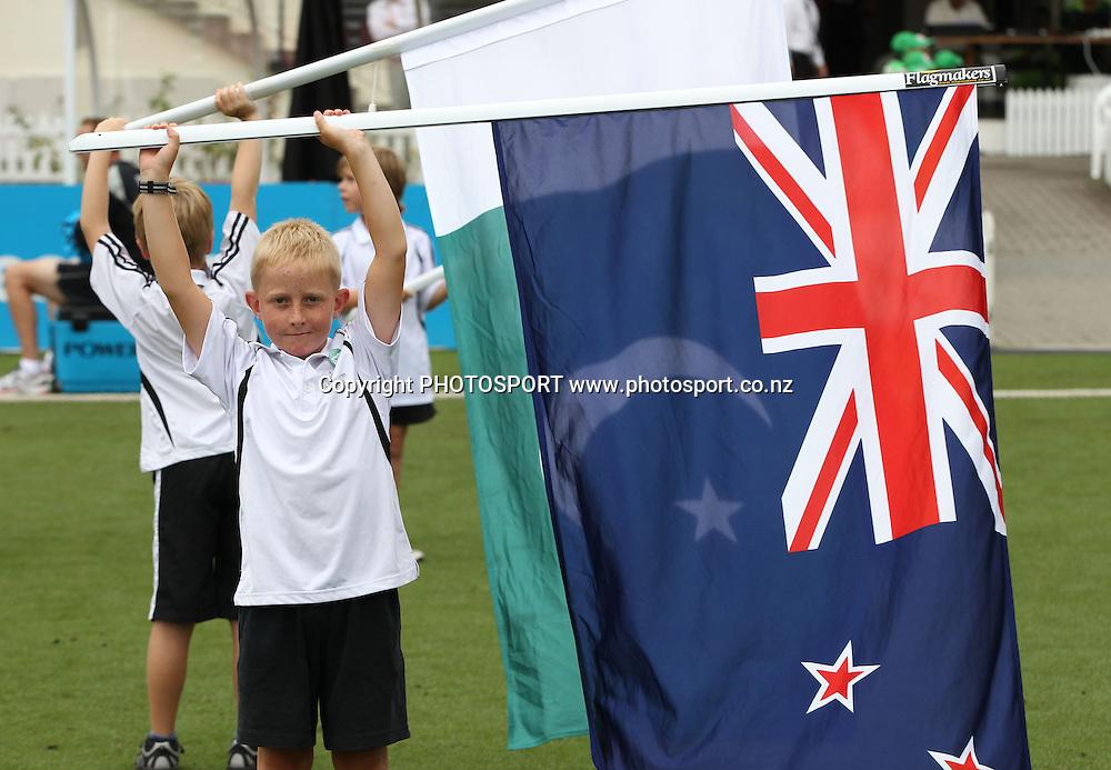 Flag bearers during the 5th ODI, Black Caps v Pakistan, One Day International Cricket. Seddon Park, Hamilton, New Zealand. Wednesday 3 February 2011. Photo: Andrew Cornaga/photosport.co.nz