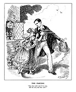 "The Parting. ""Fare thee well! and if for ever, Still for ever, fare thee well!"" (British Foreign Secretary Anthony Eden, as Lord Byron, leaves his 'wife' the League of Nations draped in a 'Sanctions' sash to attend to important foreign affairs)"
