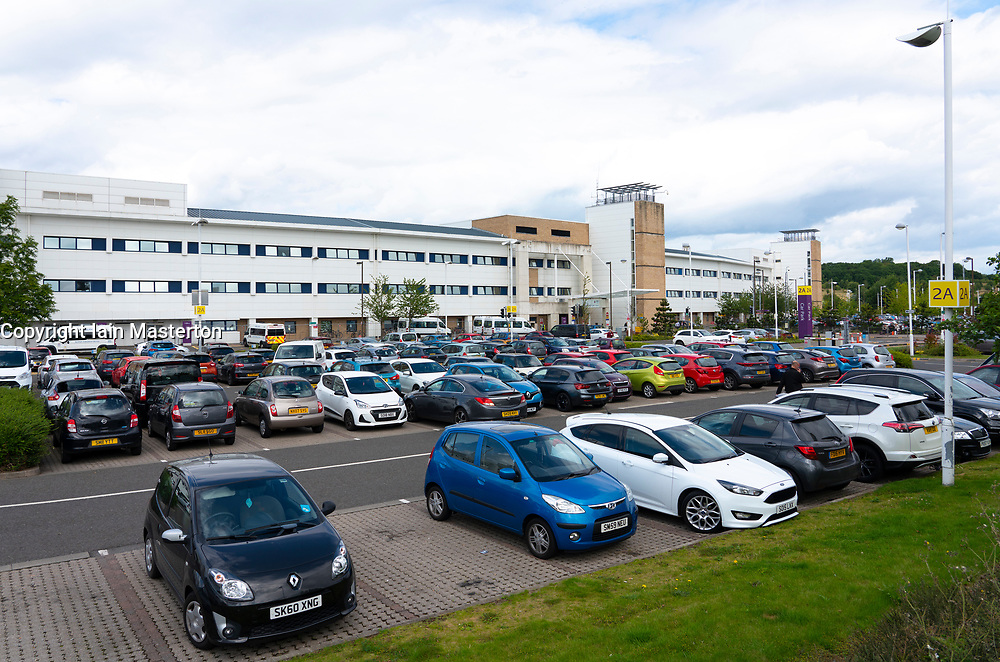 View of visitor car parks at the Royal Infirmary of Edinburgh, Scotland, UK