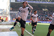 GOAL - Harry Cornick (14) celebrates scoring the opener during the EFL Sky Bet Championship match between Nottingham Forest and Luton Town at the City Ground, Nottingham, England on 19 January 2020.