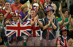 LONDON, ENGLAND - Friday, June 24, 2011: Andy Murray (GBR) fans celebrate during the Gentlemen's Singles 3rd Round match on day five of the Wimbledon Lawn Tennis Championships at the All England Lawn Tennis and Croquet Club. (Pic by David Rawcliffe/Propaganda)