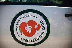 The logo and sign for the Association of the golden lion tamarin monkey (Leontopithecus rosalia) ,Brasil, South America