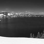 Crater Lake South Rim Overlook - Panoramic - Black & White
