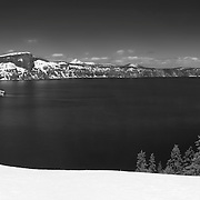 Crater Lake South Rim Overlook - Panoramic - Black & White