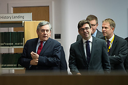 "© Licensed to London News Pictures. 16/11/2017. Manchester, UK. Former British Prime Minister GORDON BROWN (pictured arriving with Mayor of Manchester ANDY BURNHAM) to host a talk about the financial crash and his time in politics, as Chancellor and then Prime Minister, as part of his promotional tour for his book , "" My Life, Our Times "", at the Manchester Central Library . Photo credit: Joel Goodman/LNP"