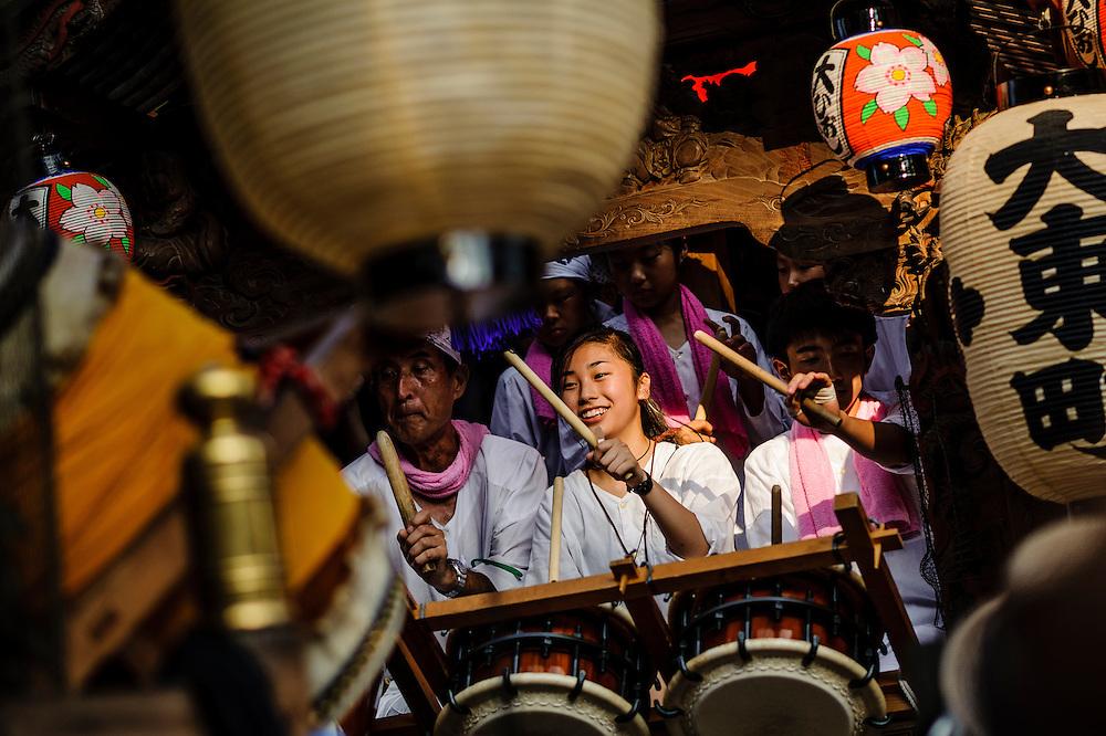 People celebrate at the Kotai Jingu Festival in Fujisawa, Japan.
