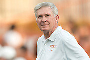 AUSTIN, TX - SEPTEMBER 14: Head coach Mack Brown of the Texas Longhorns looks on before kickoff against the Mississippi Rebels before kickoff on September 14, 2013 at Darrell K Royal-Texas Memorial Stadium in Austin, Texas.  (Photo by Cooper Neill/Getty Images) *** Local Caption *** Mack Brown