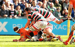 A fight breaks out after Ellis Genge of Leicester Tigers scores a try - Mandatory by-line: Robbie Stephenson/JMP - 15/04/2017 - RUGBY - Welford Road - Leicester, England - Leicester Tigers v Newcastle Falcons - Aviva Premiership