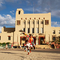 Brennon Silas, 17, from the Polequaptewa Dance Group perfoms the Eagle Dance in the McKinley Courthouse Plaza, Saturday as part of Gallup's Summer Nightly Indian Dances. The dances take place all summer long from Memorial day through Labor Day at 7 p.m in front of the courthouse.