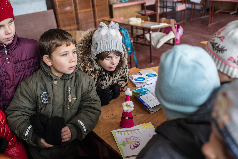 Students at the local school on Friday, December 11, 2015 in Troitske, Ukraine.