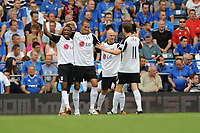 Fotball<br /> England<br /> Foto: Fotosports/Digitalsport<br /> NORWAY ONLY<br /> <br /> Bobby Zamora (Fulham - 2nd from left) celebrates his goal <br /> <br /> 15.08.09 Portsmouth v Fulham Barclays Premier League Fratton Park