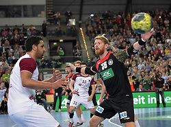 11.03.2016, Leipzig, GER, Handball Länderspiel, Deutschland vs Katar, Herren, im Bild Yassine Sami (QAT #37) gegen Manuel Späth / Spaeth (GER #36) // during the men's Handball international Friendlies between Germany and Qatar in Leipzig, Germany on 2016/03/11. EXPA Pictures © 2016, PhotoCredit: EXPA/ Eibner-Pressefoto/ Modla<br /> <br /> *****ATTENTION - OUT of GER*****